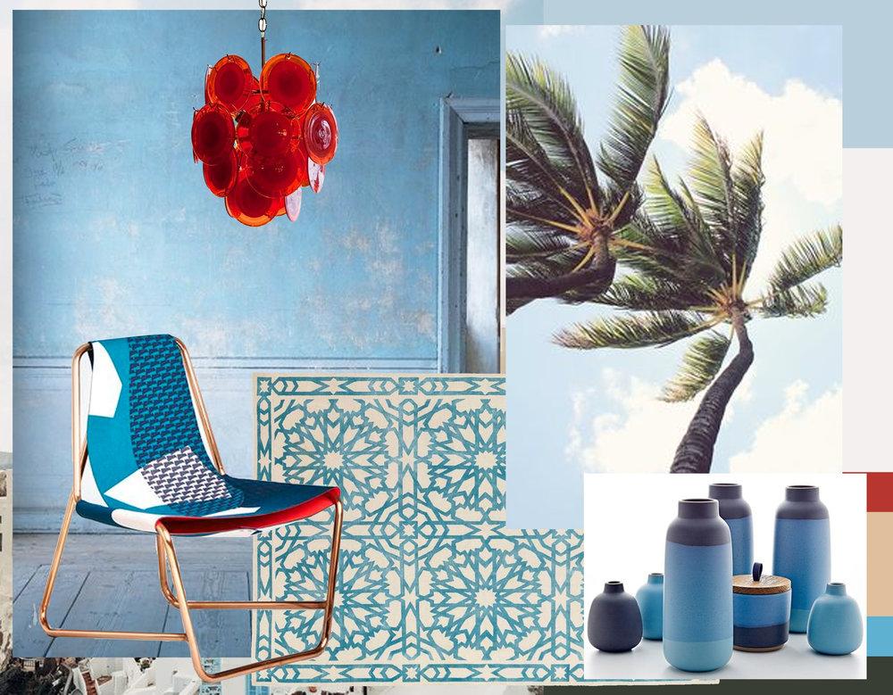blue room via  Field Notes  - Chroma frame by Lucy Birley via  Artnau  - rug Mamounia Sky  The Rugcompany  - ceramics via  Dwell  - Vintage italian Murano chandelier