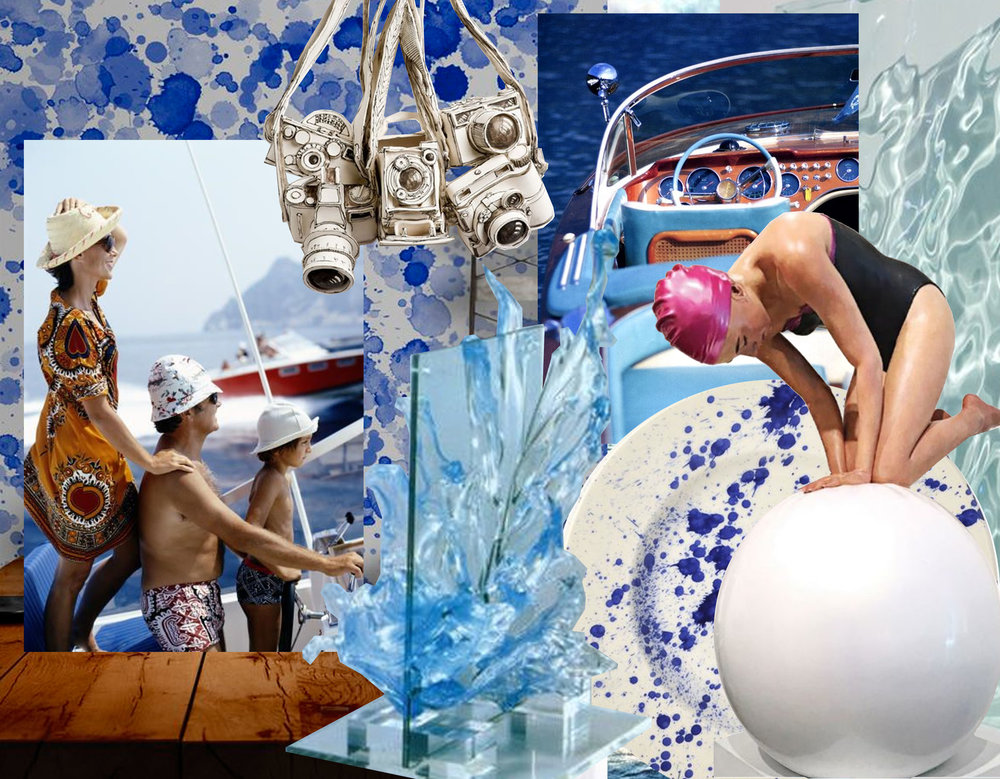 Blue Drops wallpaper via Photowall - cameras are ceramic work of Katherine Morling via The Jealous Curator - water sculpture - boat image: Endless Summer meets Sim Aarons via Trendland - Blue Splater plate via Remodelista - sculpture woman swimmer Carol Feuerman via The Jealous Curator