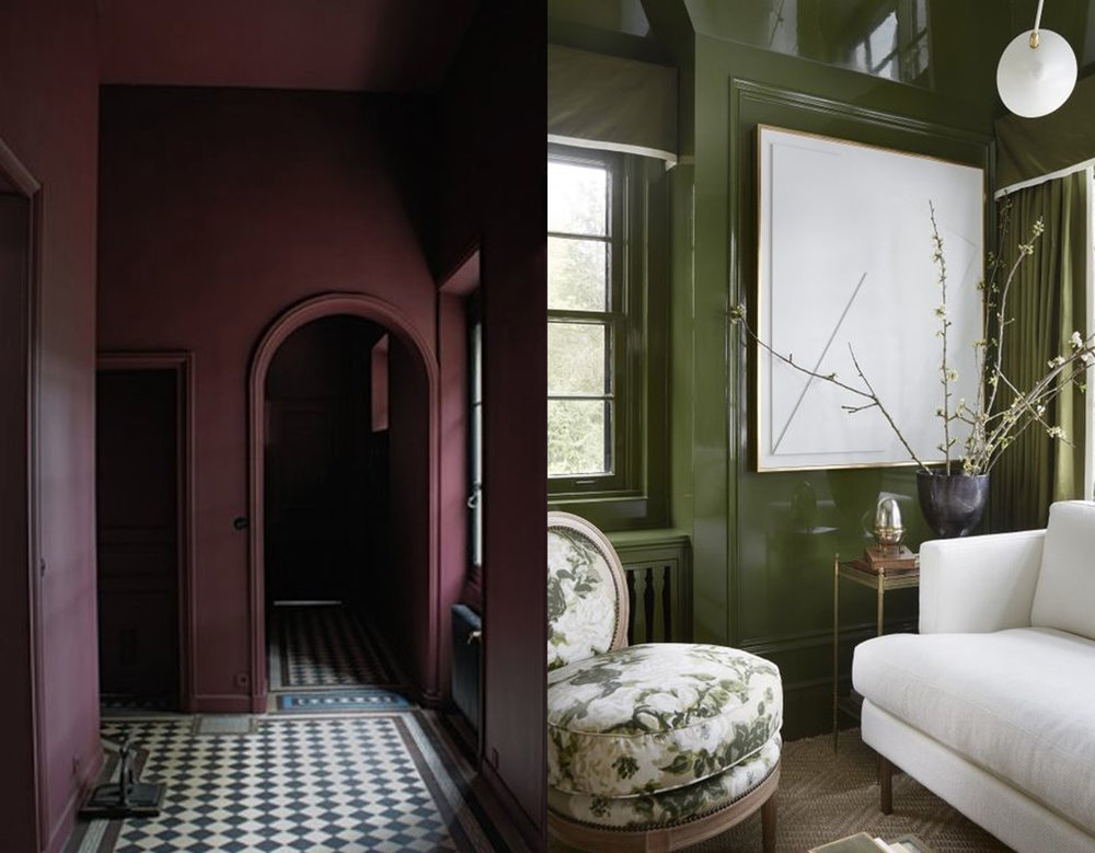 Mat versus glossy: dark interior via Pinterest - glossy interior via Marie Flanigan