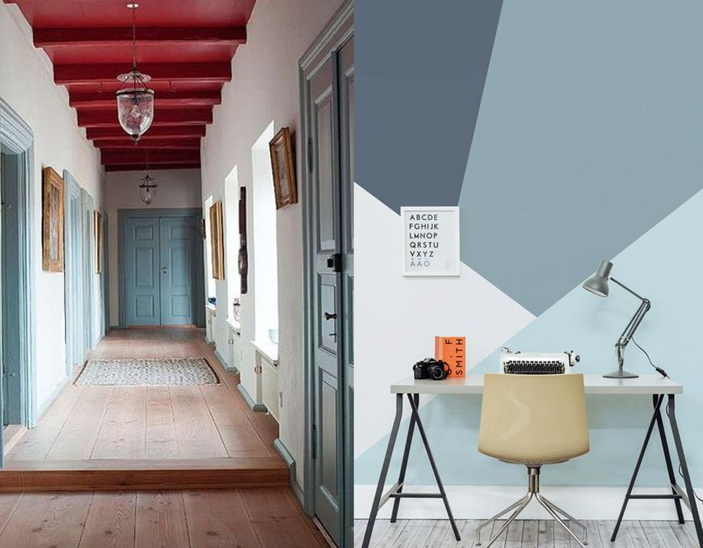 Paint is a strong tool for decorating a room: corridor via Lullu Klein - office space via Postris