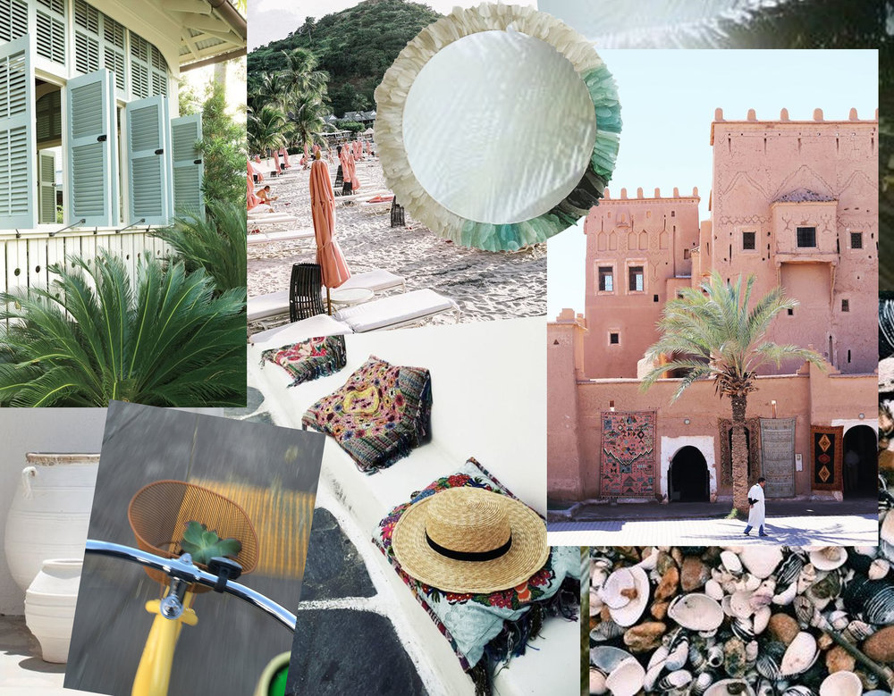 August Mood - shutters via  Southern living  - empty beach via  Instagram  - sea glass Jonathan Fuller via  The Jealous Curator  - Marrakech via  Ladyslider  - embroidered pillows via  Girl in the Park  - shells Slim Aarons via  Trendland  - bike image