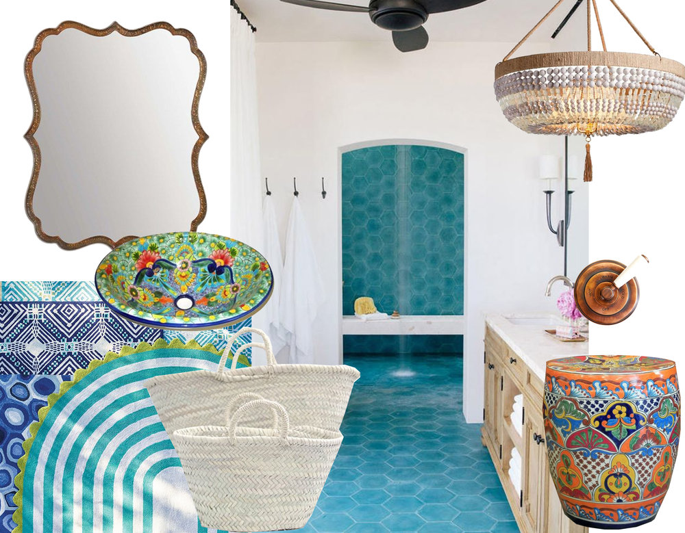 Nola beaded outdoor chandelier Frontgate - outdoor rugs Frontgate - white baskets via Evasabado - hammered copper mirror Nordstorm - washbasin and stool in decorate ceramic Talavera - image bathroom via Desire to Inspire