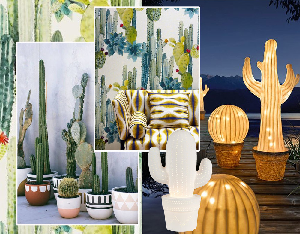 image cactus via Design Love Fest - great combination of wallpaper and fabrics Pierre Frey - cactus lamps via Pinterest