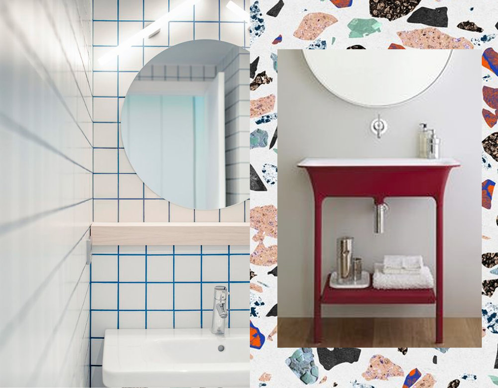 blue ciment to give accent to white tiles -  Marmoreal   - red washbasin Morphing  Kos