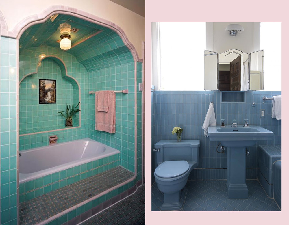 1920s bathroom via Old House Online - 1930s bathroom via Remodelista