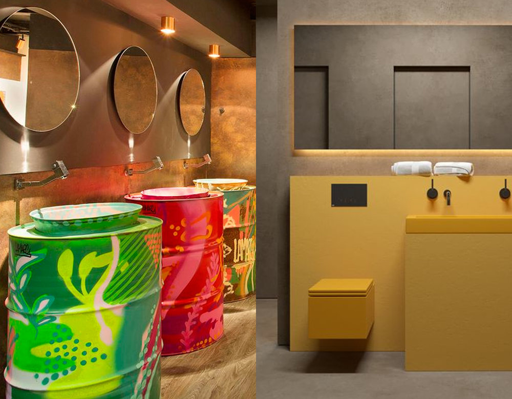 colorful washbasin   Casa De Firulas  - yellow bathroom via  Behance