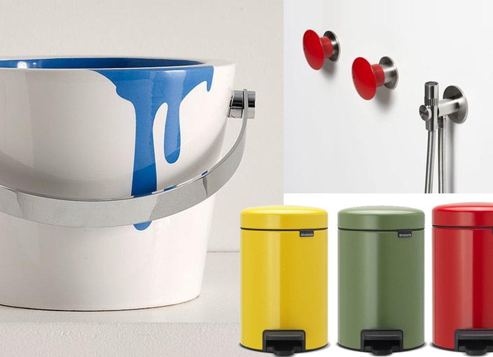 washbasin Bucket Scarabeo - pedal bin Newicon Brabantia - taps Mayday Antonio Lupi