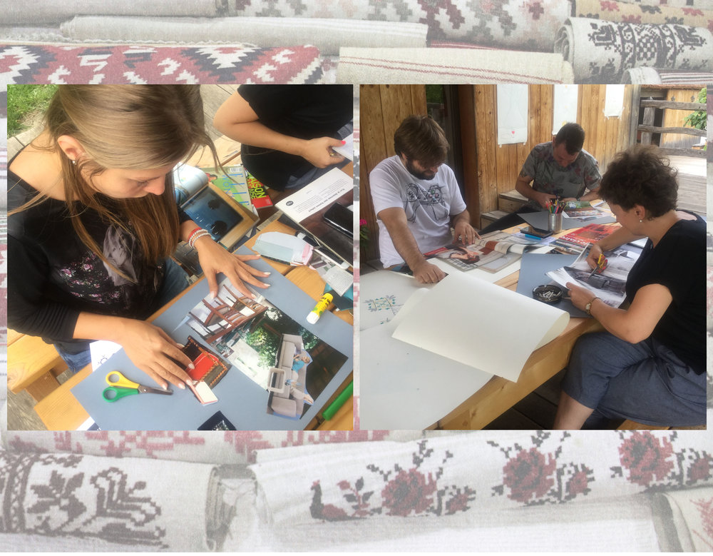 making mood boards during weekend workshop - image in the back Muzeul Taranului Roman