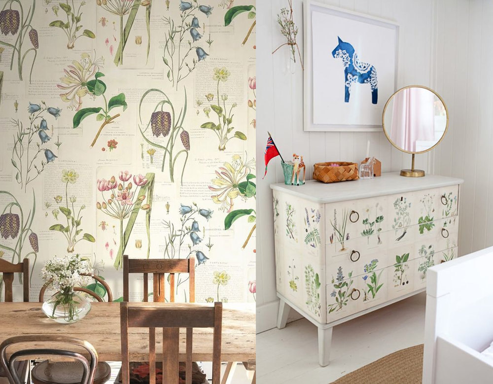 botanical wallpaper Baxter via  Wallpaperdirect  - chest of drawers via  Remodelista