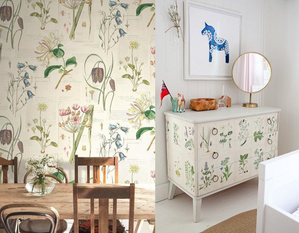 botanical wallpaper Baxter via Wallpaperdirect - chest of drawers via Remodelista