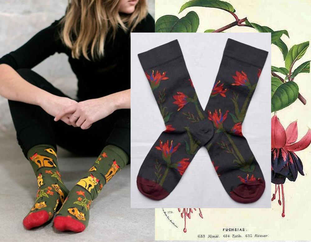socks Croisement - botanical print fuchsias via Indigo Dream