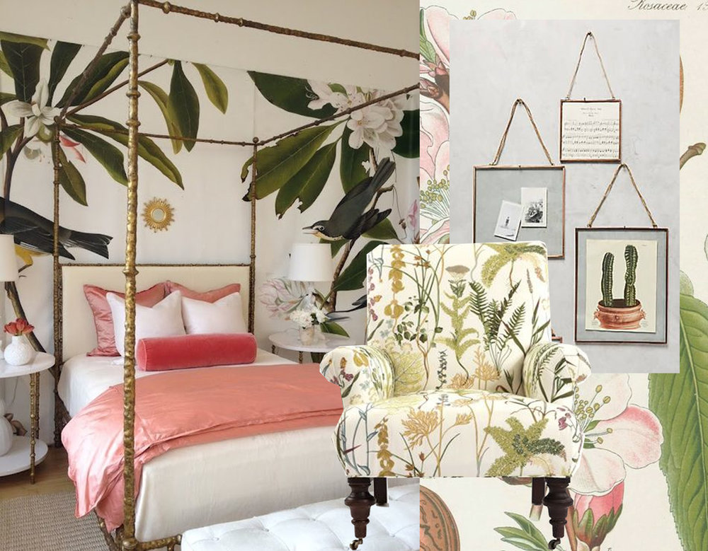 bedroom with mural via  Diys  - upholstered armchair Calico Corners via  Flickr