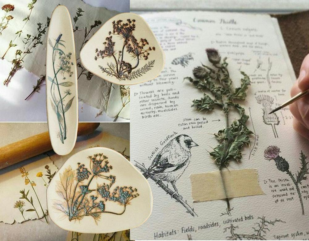 image in back via i.pinimg - Botanical Impressions K Boyland Design - journal via Weheartit