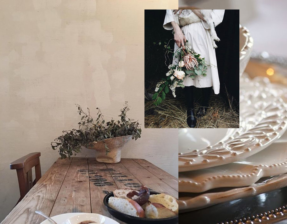 rustic table via  ap-paper instagram  - white plates via  Stone Gable  - country girl via  ol_step on Instagram