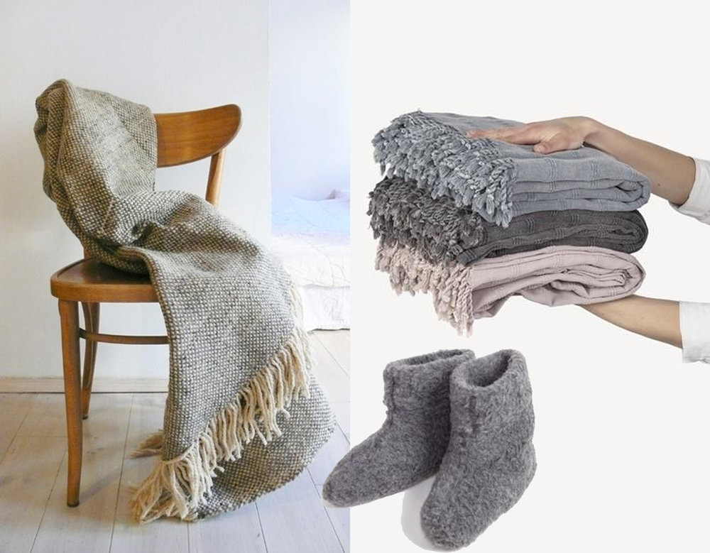 blanket  Muima  - stonewashed blanket  The Hygge Life  - house slippers  The Hygge Life