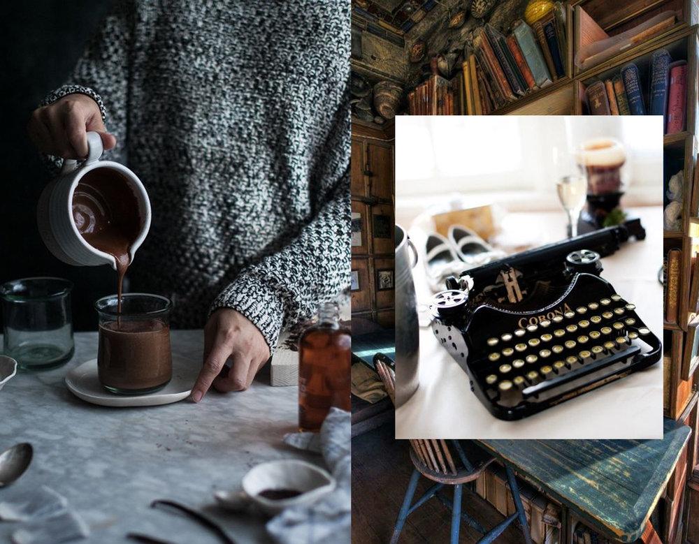 hot chocolate via The Kitchen McCabe - type writer via 72 Disorganized