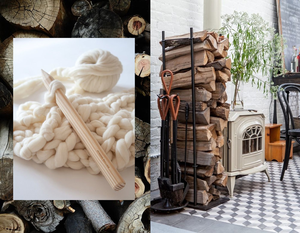wood image via  That Kind of Woman  - heavy knit work via  Knitting Noodles  - interior image via  Remodelista