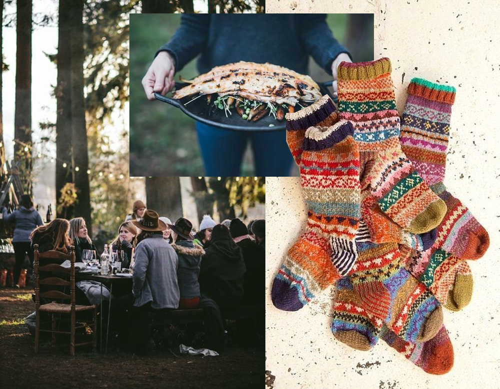 outdoor lunch via  Elle UK  - Hygge cooking via  The Hygge Life  - knitted socks  Plumo