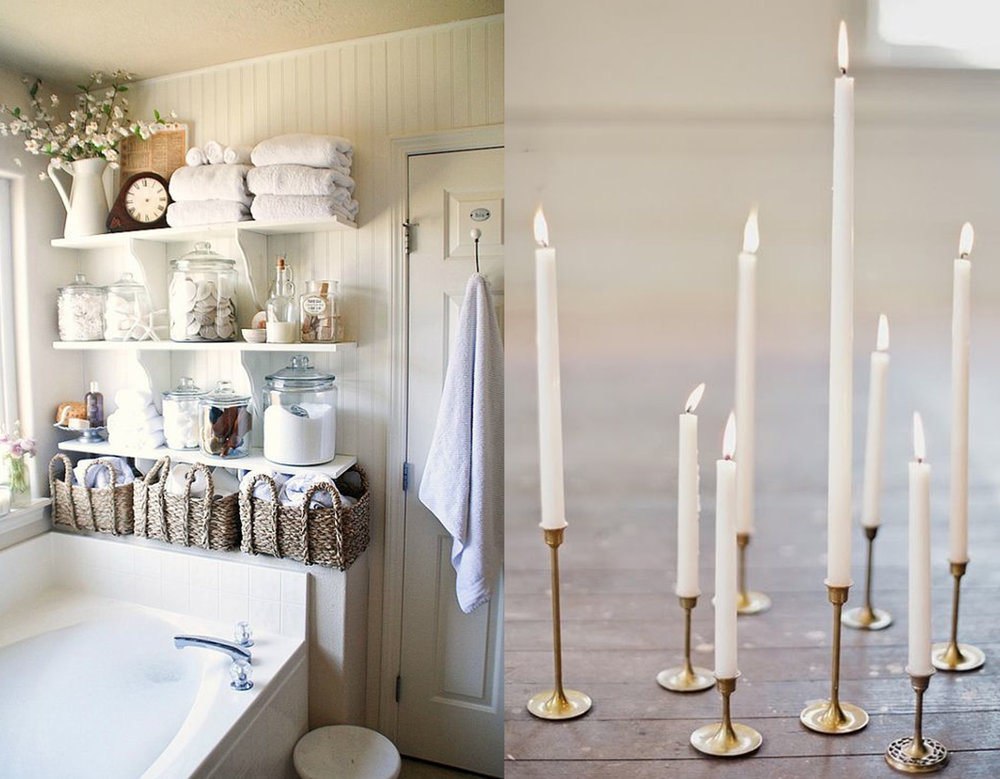 bathroom via  Brit+Co  -  candles via  Ace and Whim