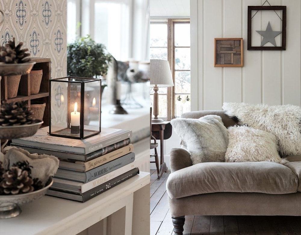 decorated corner via Ljuva Lantliv - neutral tones and fluffy pillows for sofa via Amara