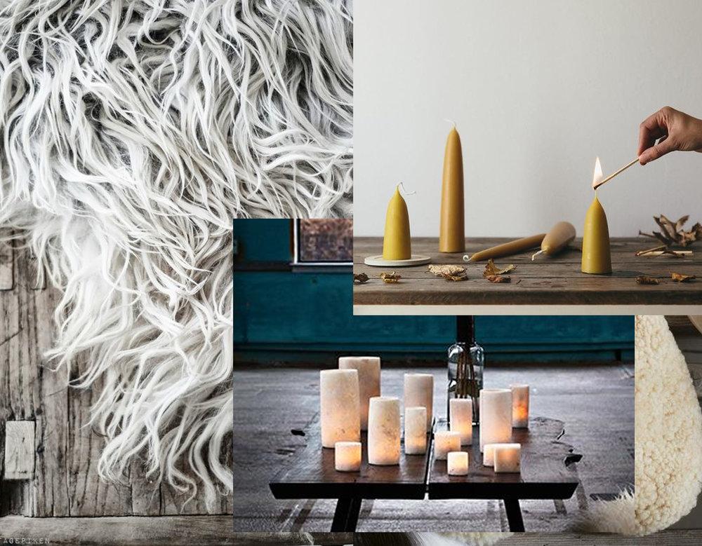 sheepskin via VintagePiken - salt candle holders Sirocco Living - beeswax candles via The Futur Kept