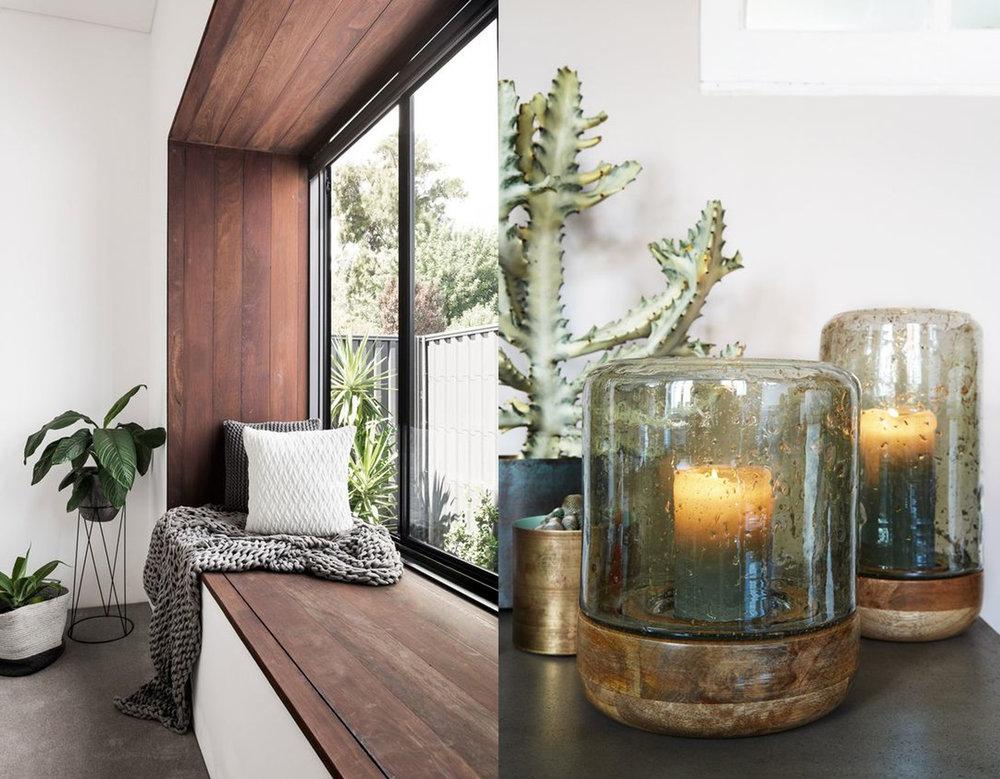 sitting corner via Architecture and Design - handmade hurricane lights via House Beautiful