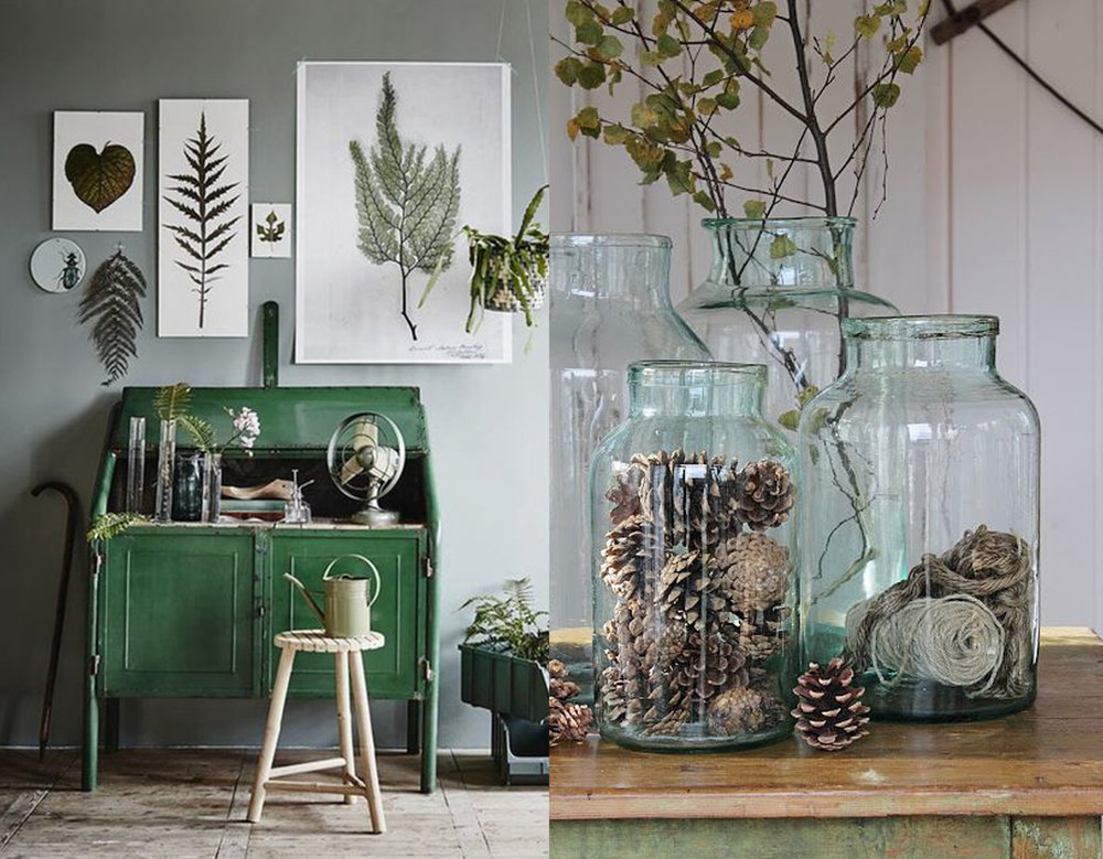 botanical prints via Marie Claire Maison - nature in glass jar via Pinterest