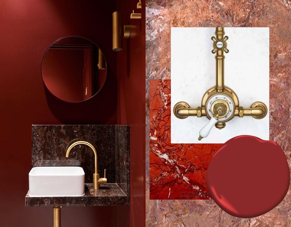 bathroom via YellowTrace - marble Brescia Pernice Antolini - marble Rosalia red via Stone Contact - shower tap Waterworks