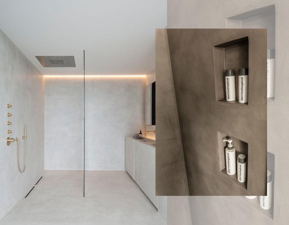 minimalist bathroom via  Arch daily  - recessed shelving via  Pinterest