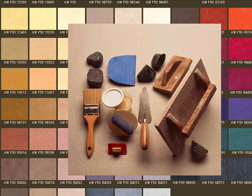 tadelakt color samples via  Decor Bristol  - tools via  Pinterest