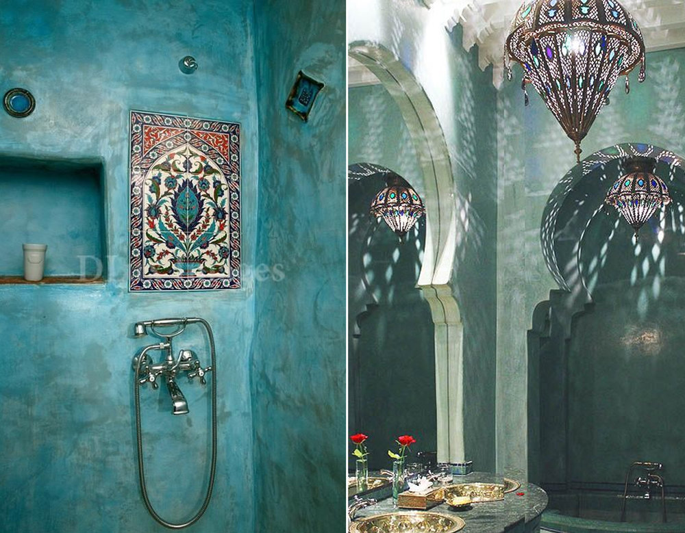 shower area via Paperblog - La Sultana hotel Marrakech via  Project Inspo