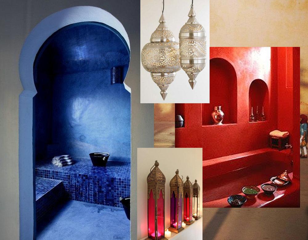blue bathroom via Flickr - red bathroom via Pinterest - hanging lamps vie Refinery 29