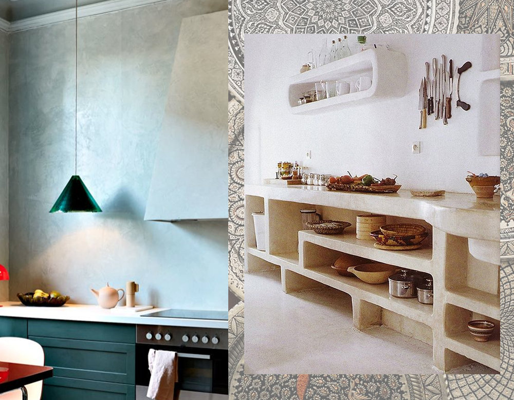 kitchen left via Pure and Original - shelves in tadelakt via One Kindesign