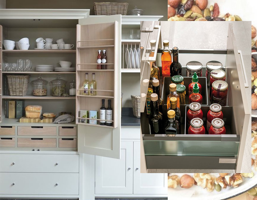 kitchen pantry via  Apartment Therapy  - kitchen drawer via  Elle