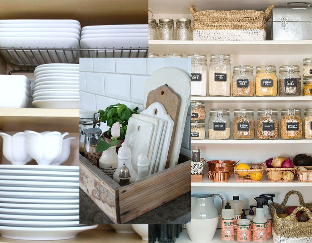 plates in order via  Graceful Order  - cutting boards via  Emma Courtney  - organized pantry via  The Kitchn