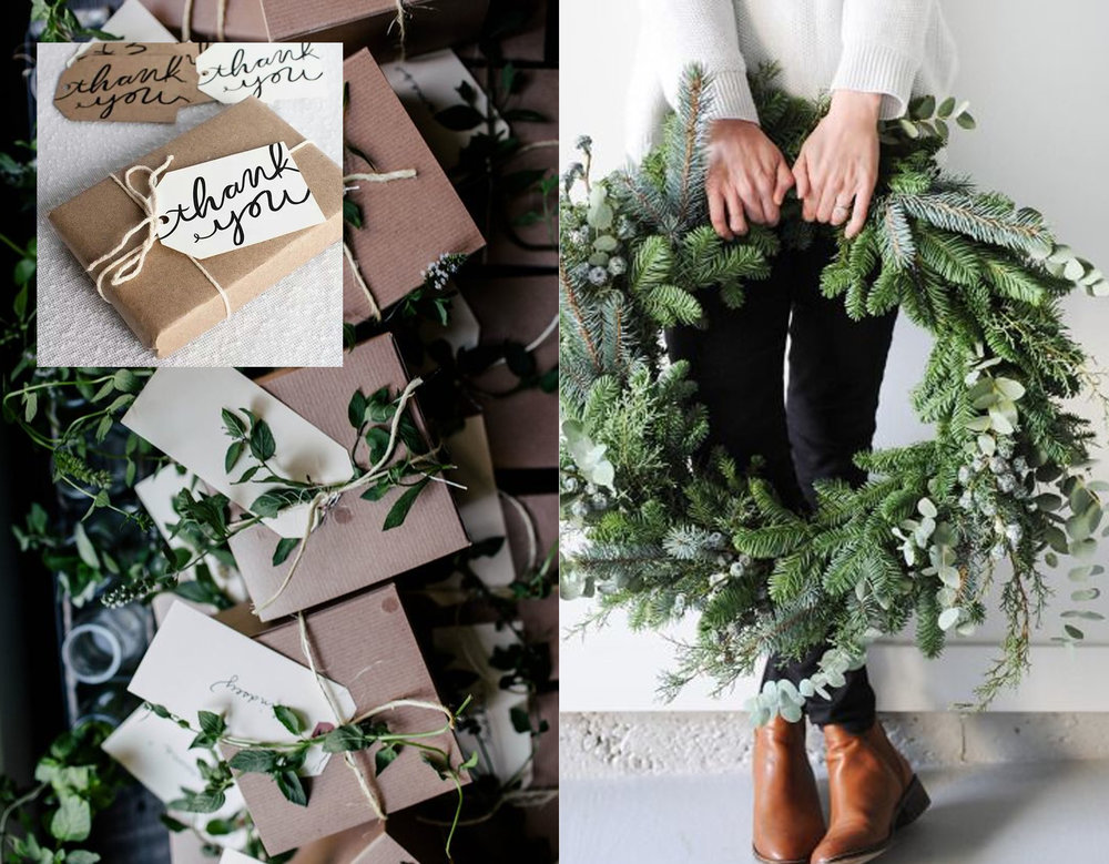 gifts via  Flickr  - wreath via  Bloglovin'