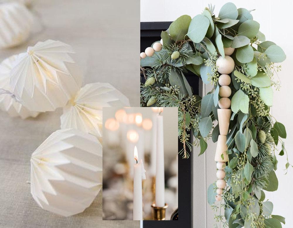 Seya Ball Garland  Nkuku  - modern garland via  Oleander + Palm  - candles via  Sara Lynn Journal