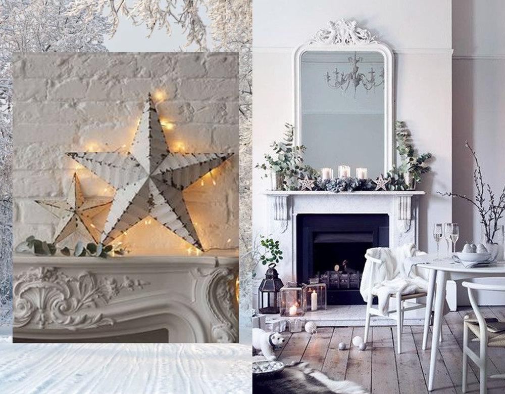 star light via  Pinterest  - decorated fireplace via  Lonny