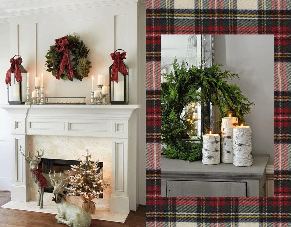 traditional fireplace decoration via  Our Southern Home  - tartan fabric  Ralph Lauren  - candles via  Little Vintage Nest