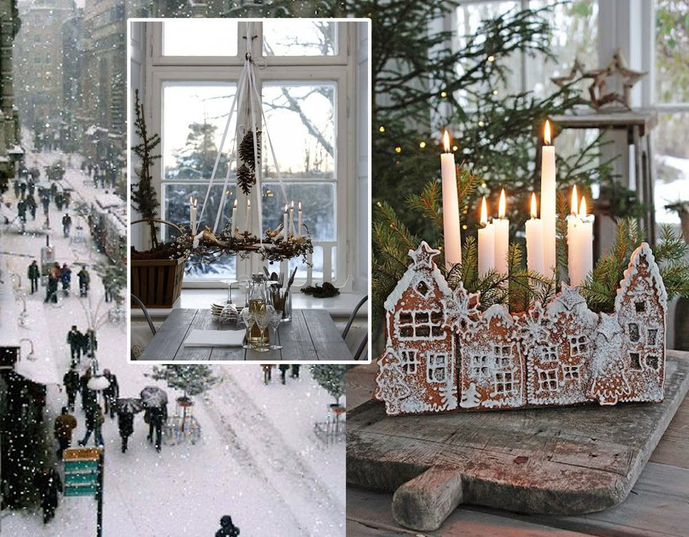 city under the snow  Irene Mids  - candle chandelier via  The Ivy House  - Christmas decoration via  Vibeke Design
