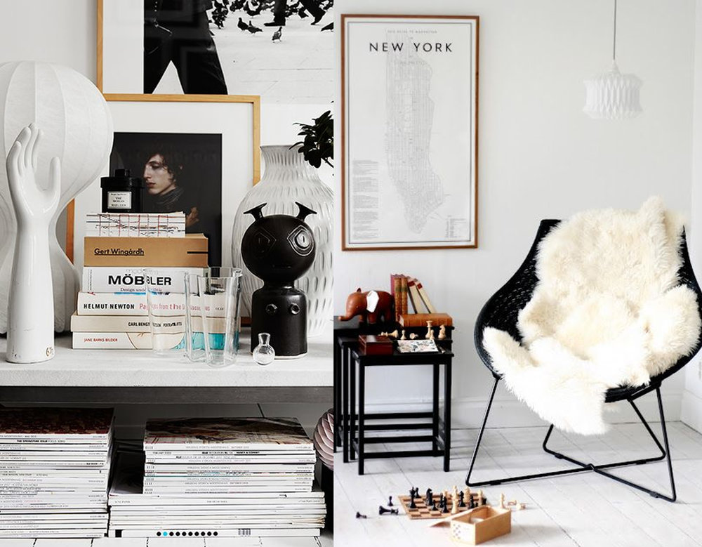 books and magazines via  Hemtrender  - reading corner via  Mokkasin