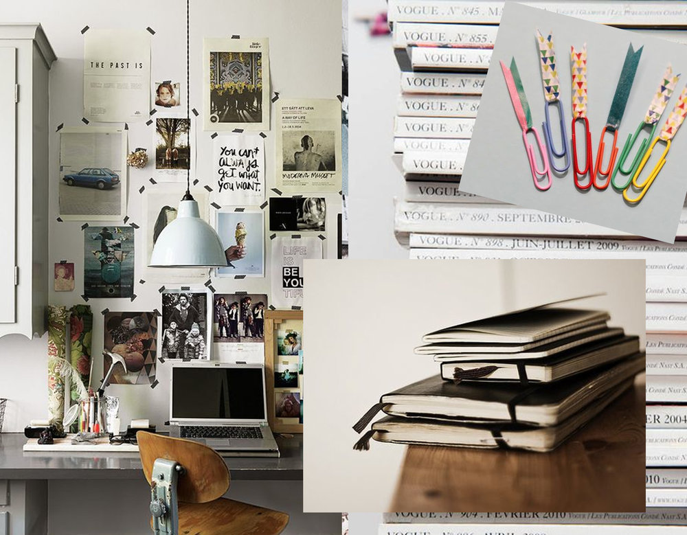 home desk via  Parker etc  - notebooks via  Greige Design  - washi tape via  Mighty Girl