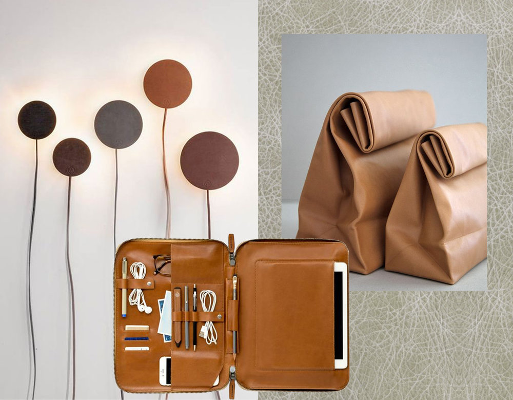 leather wall lamps Norm Architects via  Nordic Design  - Tablet Mod 3  Gadgetsin  - leather lunch bag via  Carton