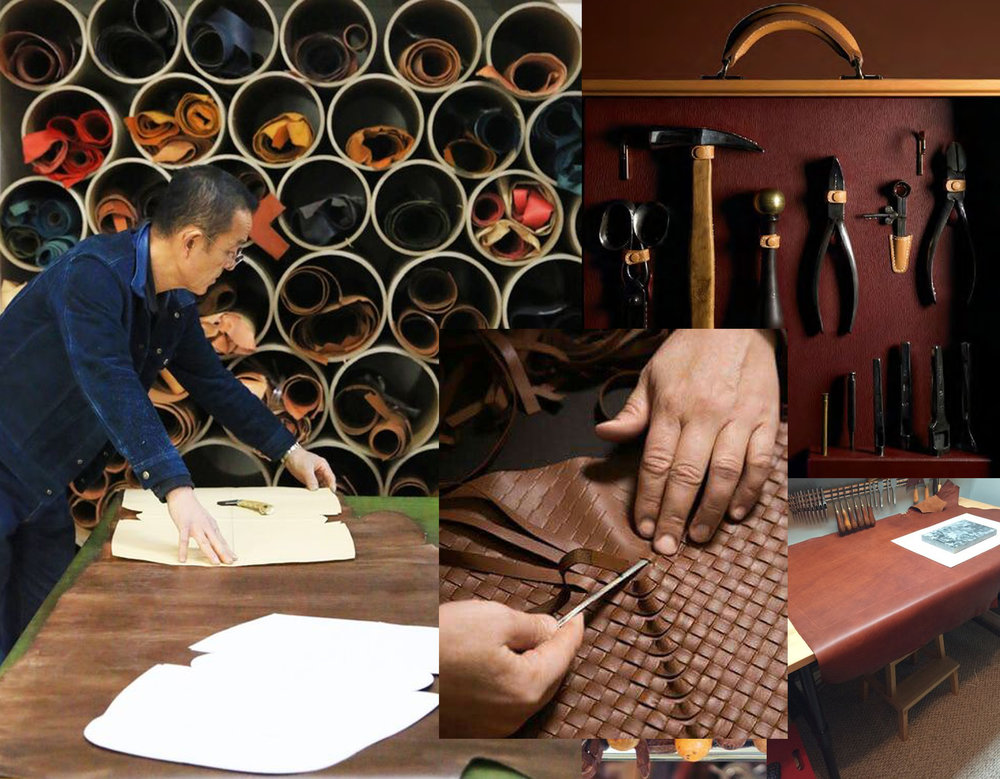 cutting the leather via  Moto  - tools Hermes via  Scribd  - woven leather via  Sohu