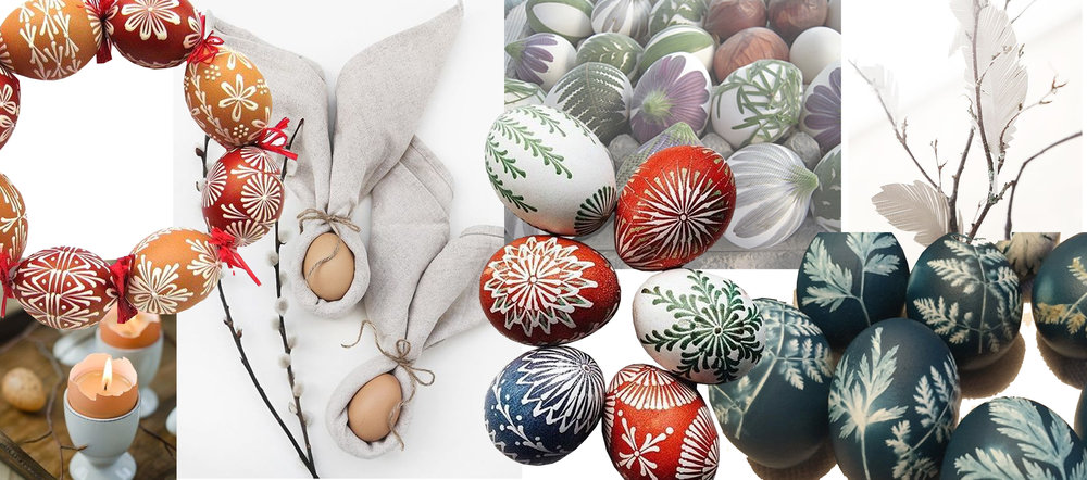 painting eggs - table setting for Easter - dying with natural materials