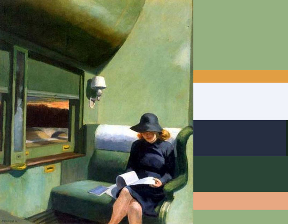 Edward Hopper - Compartment C Car 1938 - color harmony