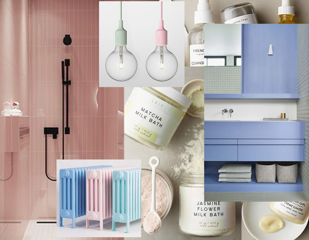 shower via  Behance  -  Bisque  classic radaitors via  Remodelista  - beauty products via  Style me Pretty  and  Anthropologie  - bathroom via  Pinterest  - hanging lamps via  Flickr