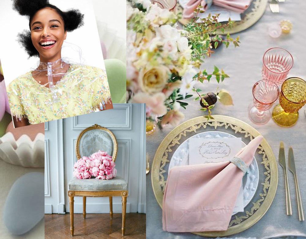 dress Chanel via  Madame Figaro  - Louis XVI chair via  Just so French  - table decoration via  Ana Rosa