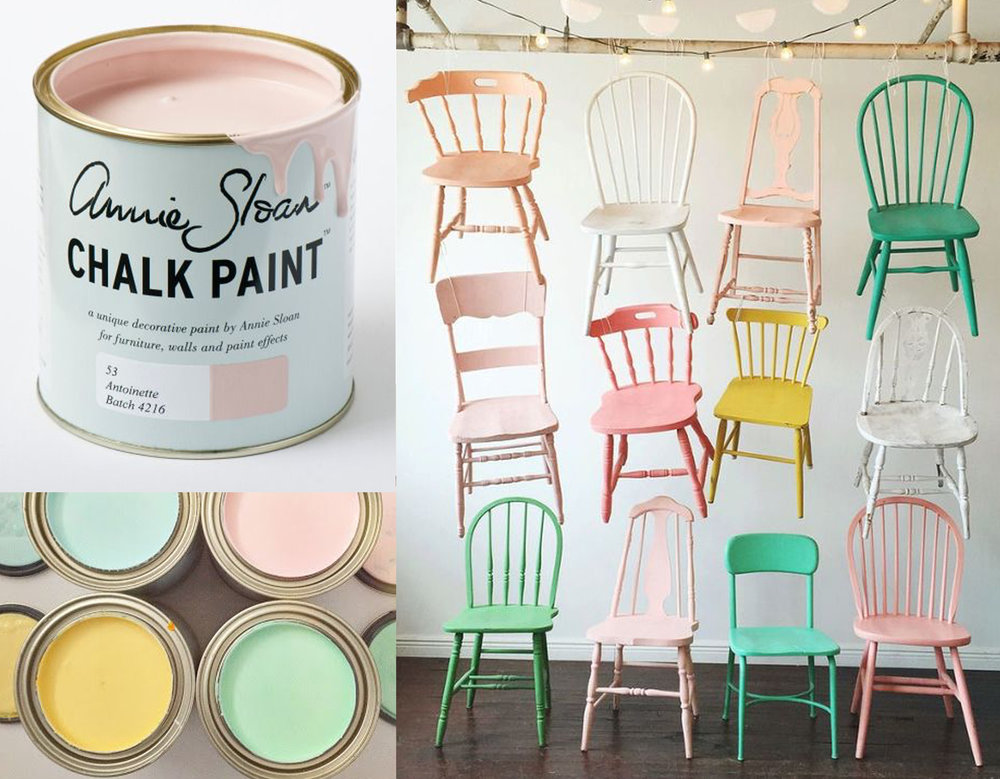paint  Annie Sloan  - pastel paint samples via  Every Day is a Holiday  - chairs via  At Home in Love