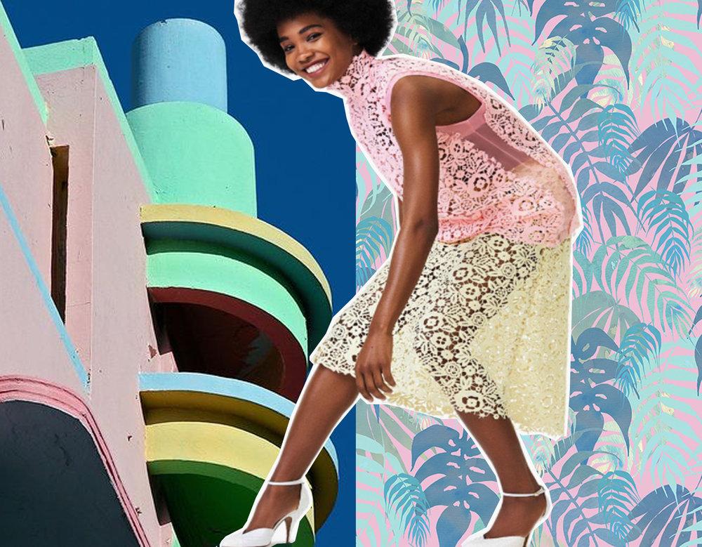 Miami Art Deco district via  Flickr - Tropical by Schatzi Brown via  Behance  - top and skirt Miu Miu via  Madame Figaro